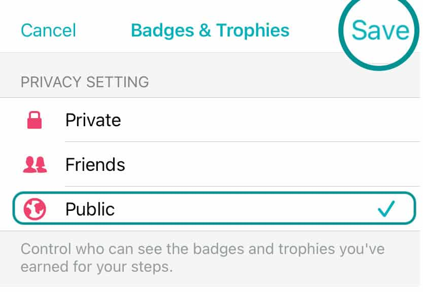 update Fitbit app privacy settings for sharing badges and trophies