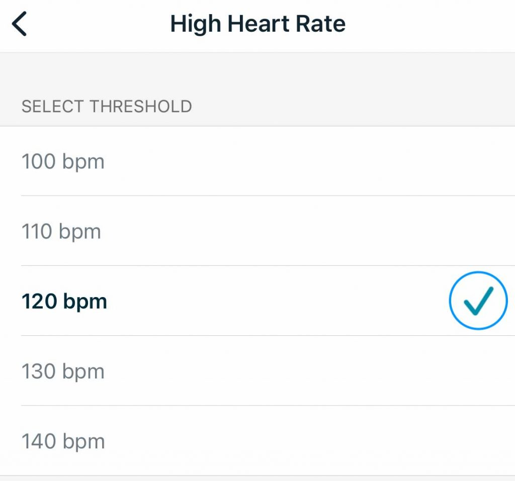 manually set your high heart rate threshold for notifications on your Fitbit