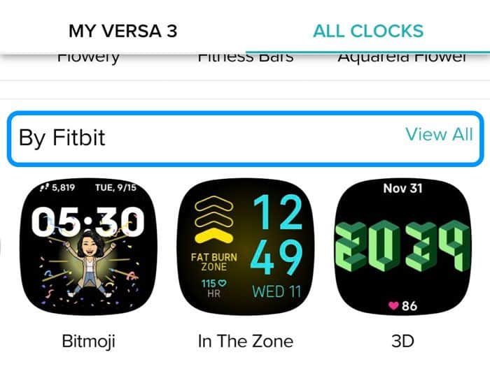 Clock faces by Fitbit in the Fitbit app