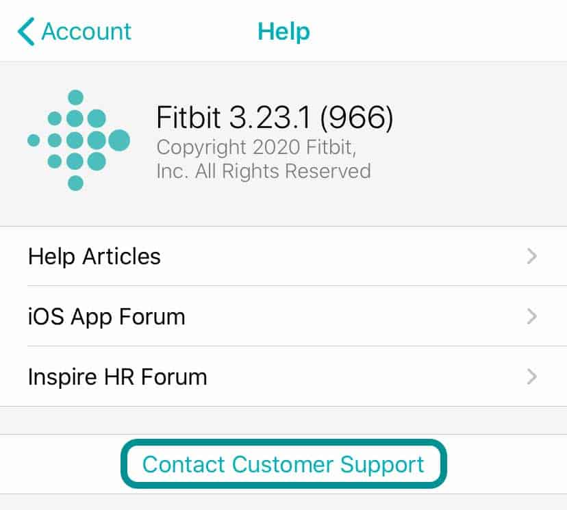 customer service in fitbit app