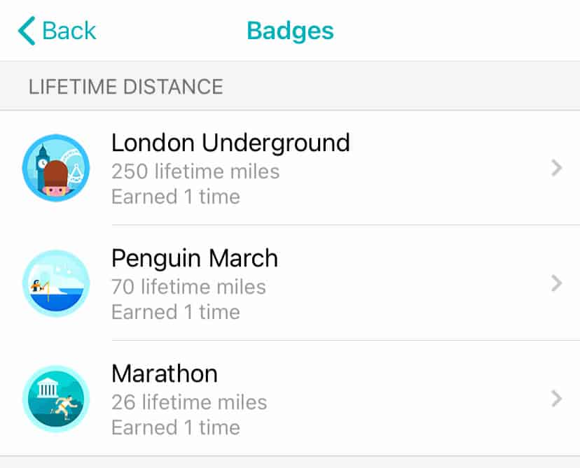 list of earned lifetime badges in Fitbit app