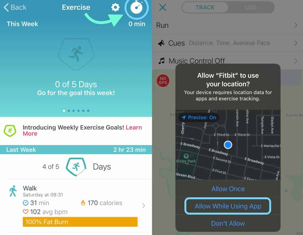see location services in Fitbit app