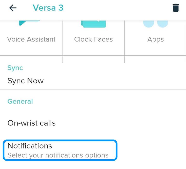 notification settings in Fitbit app