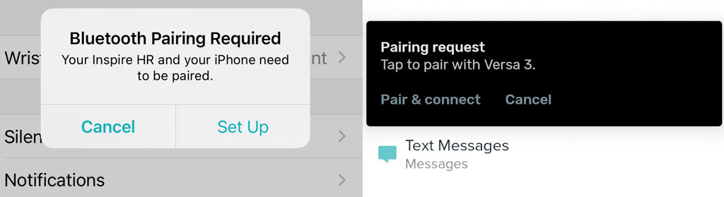 pairing request for Fitbit app on mobile using Fitbit app