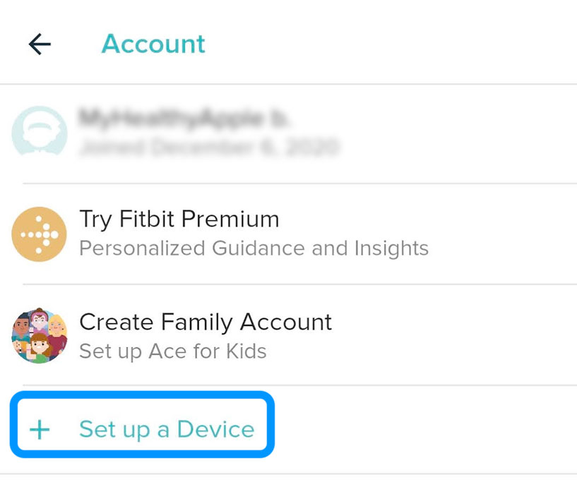 set-up a new device inside the Fitbit app