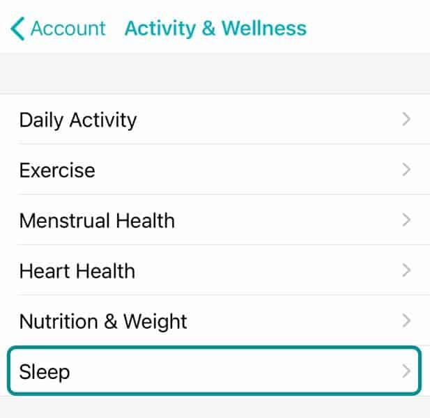 sleep setting in Fitbit app