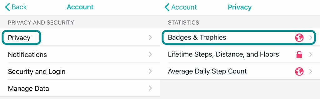 Fitbit app settings for privacy and badges and trophies