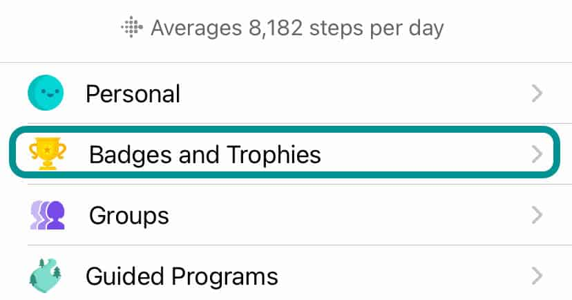 badges and trophy settings in Fitbit app
