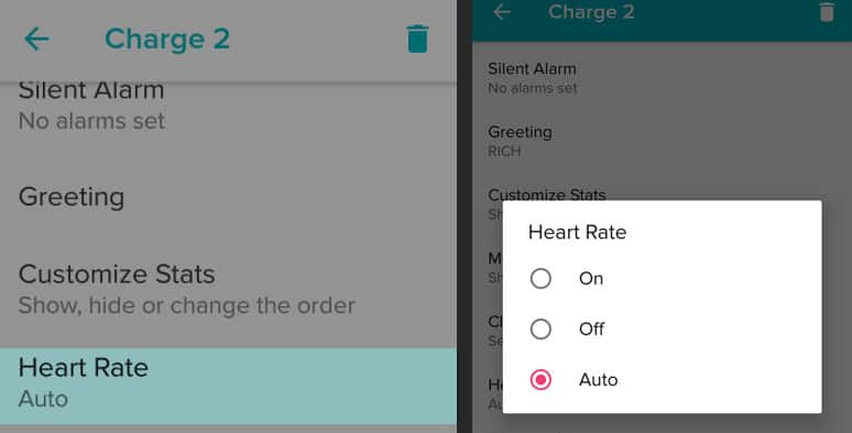heart rate turn on, off, or auto inside Fitbit app