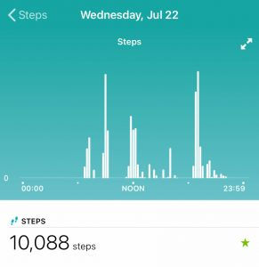 steps completed in a single day in the Fitbit app weekly report