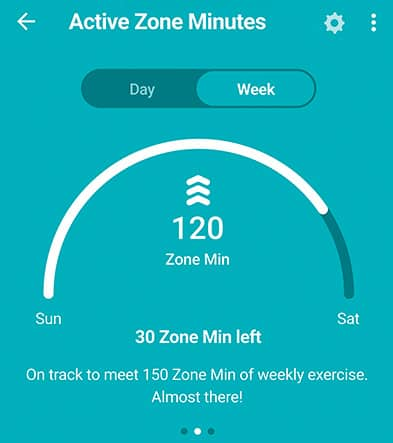 weekly active zone minutes summary on Fitbit app