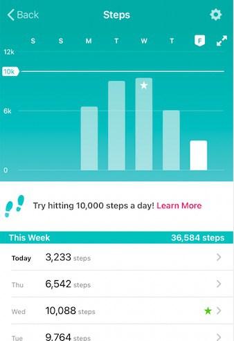 Fitbit app weekly report