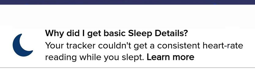 Fitbit notification about not getting sleep stage details