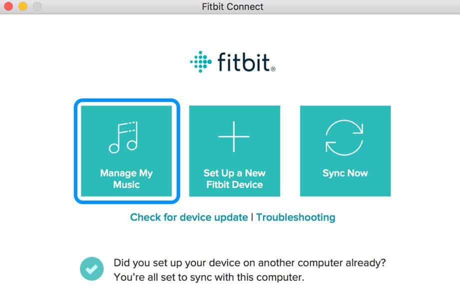manage My Music for Fitbit using Fitbit Connect