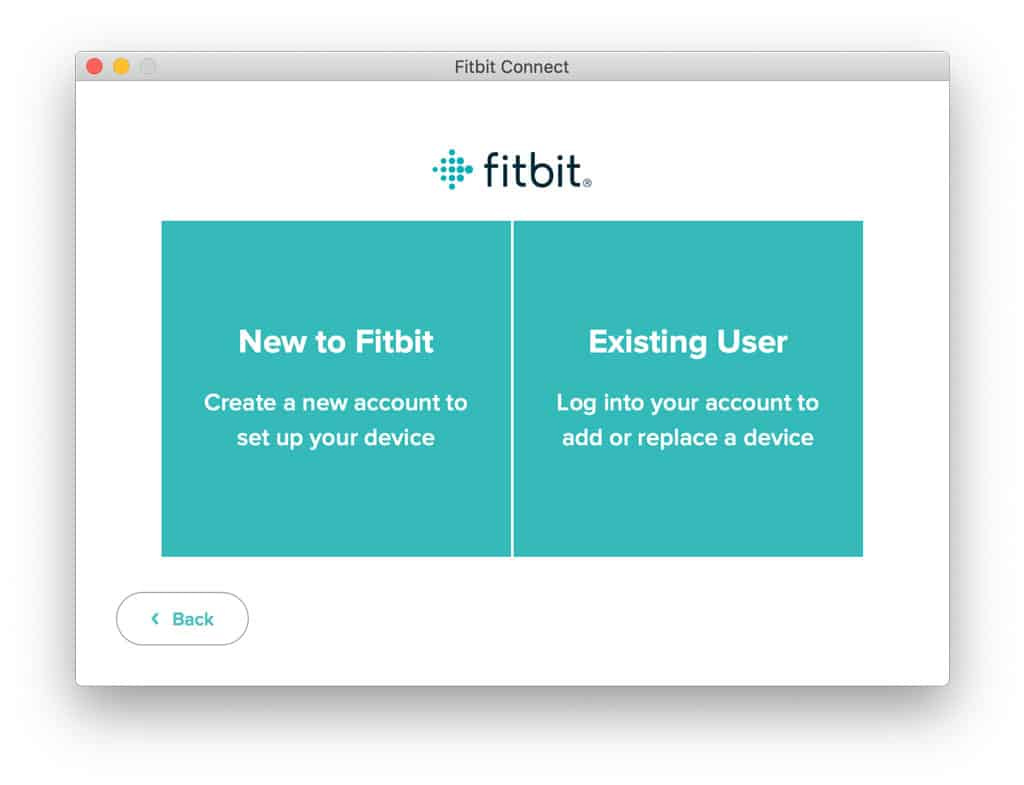 log into Fitbit Connect or set up new Fitbit account