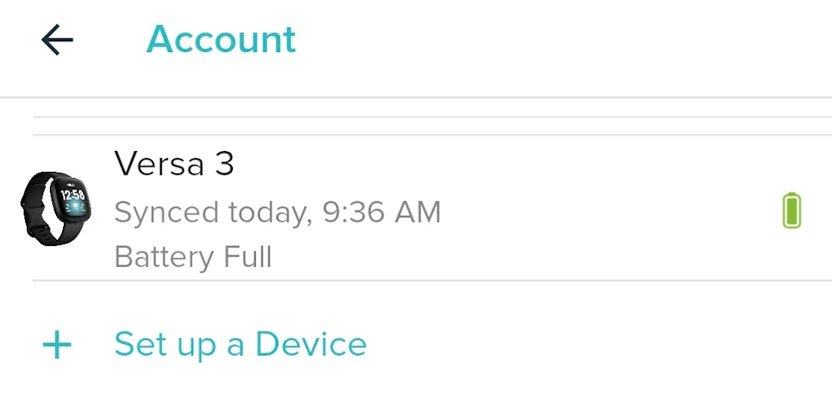 Fitbit in list of account options in Fitbit app