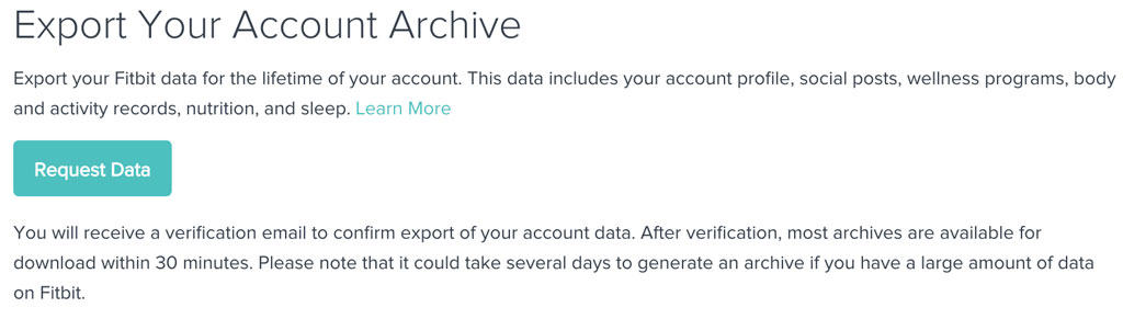 Export all Fitbit Account Data and Archive