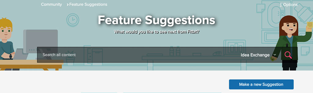 Feature suggestions site for Fitbit users
