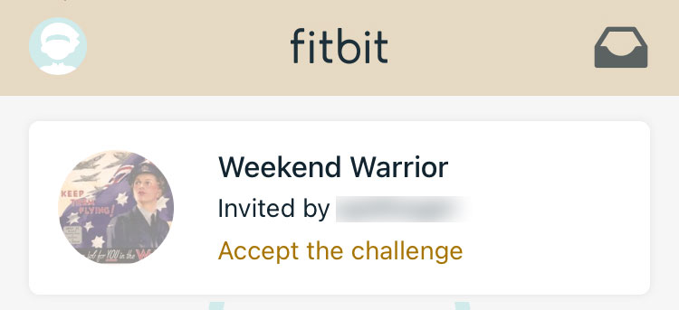Fitbit friend invitation for challenges or adventures