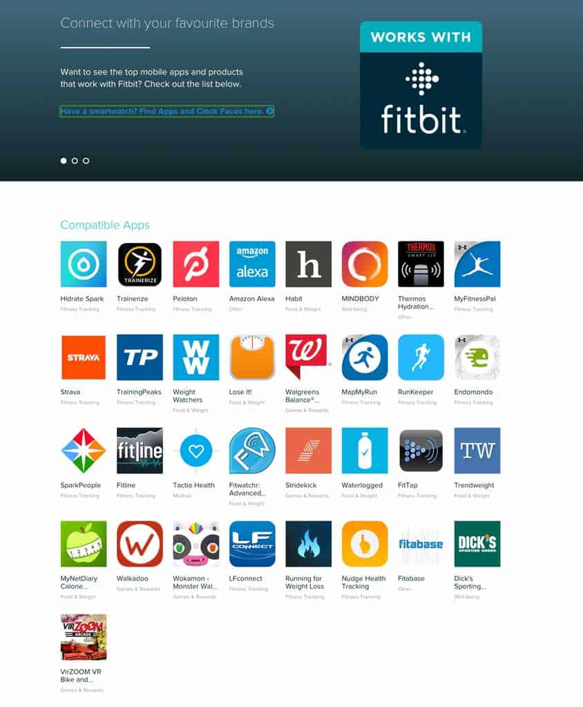 health apps sample for Fitbit