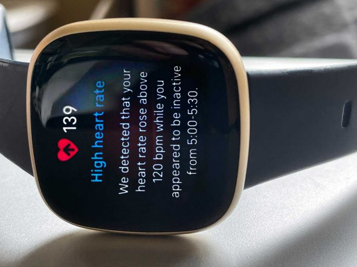 high heart rate notification on Fitbit Versa 3 and Sense