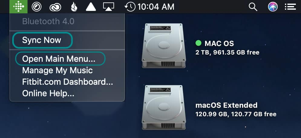 Mac top menu icon for Fitbit Connect