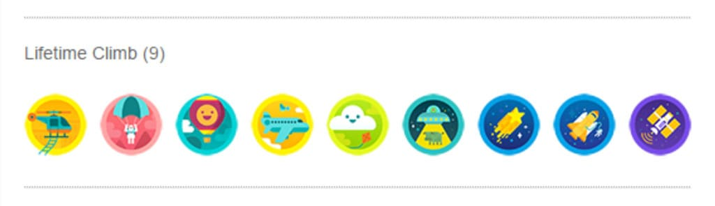 Fitbit's lifetime climbing badges