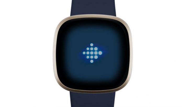 Fitbit logo on-screen of Fitbit smartwatch