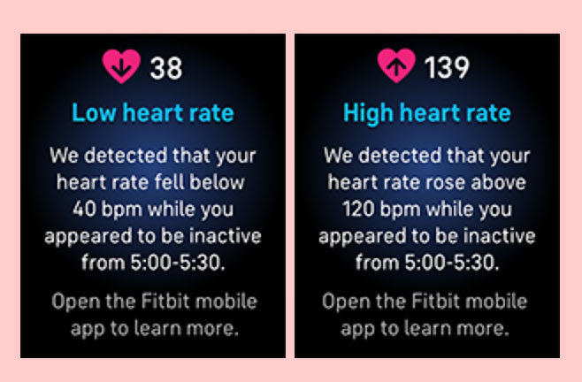 low and high heart rate notifications on Fitbit Sense and Versa 3