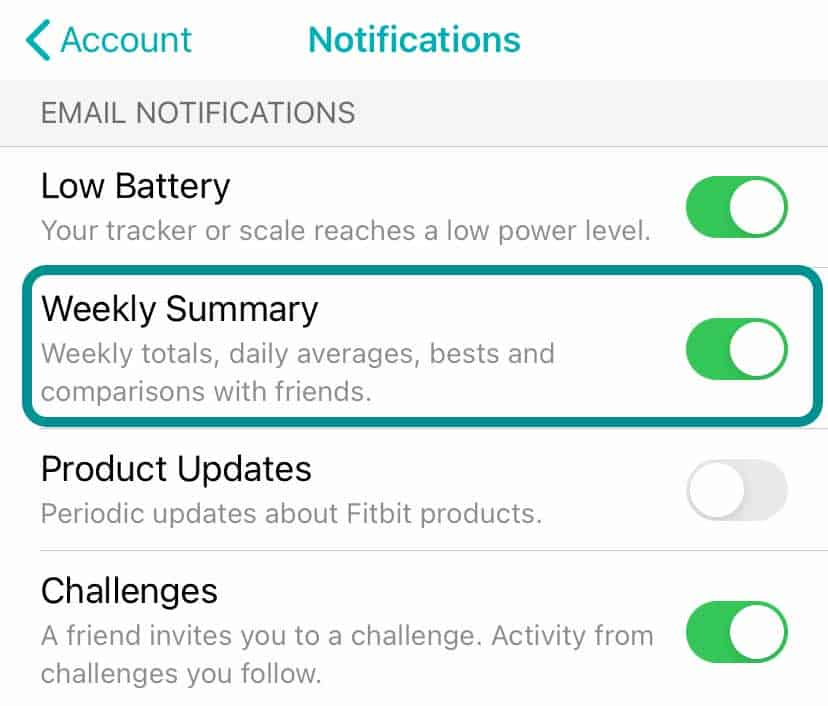 get Fitbit to send you week summary reports in your email inbox!