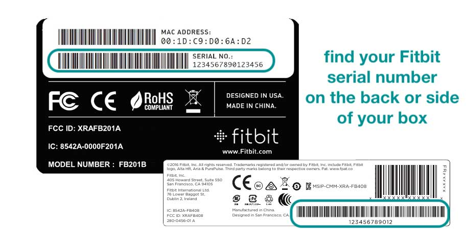 locate your fitbit's serial number on the original packaging or box