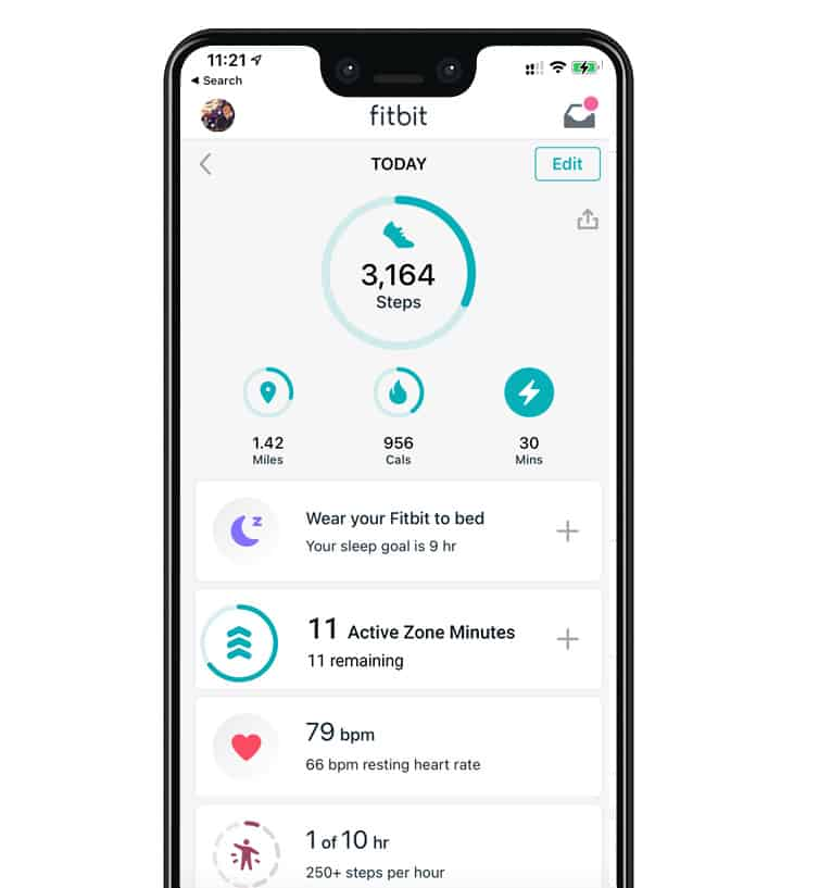 Today tab in Fitbit with active zone minutes