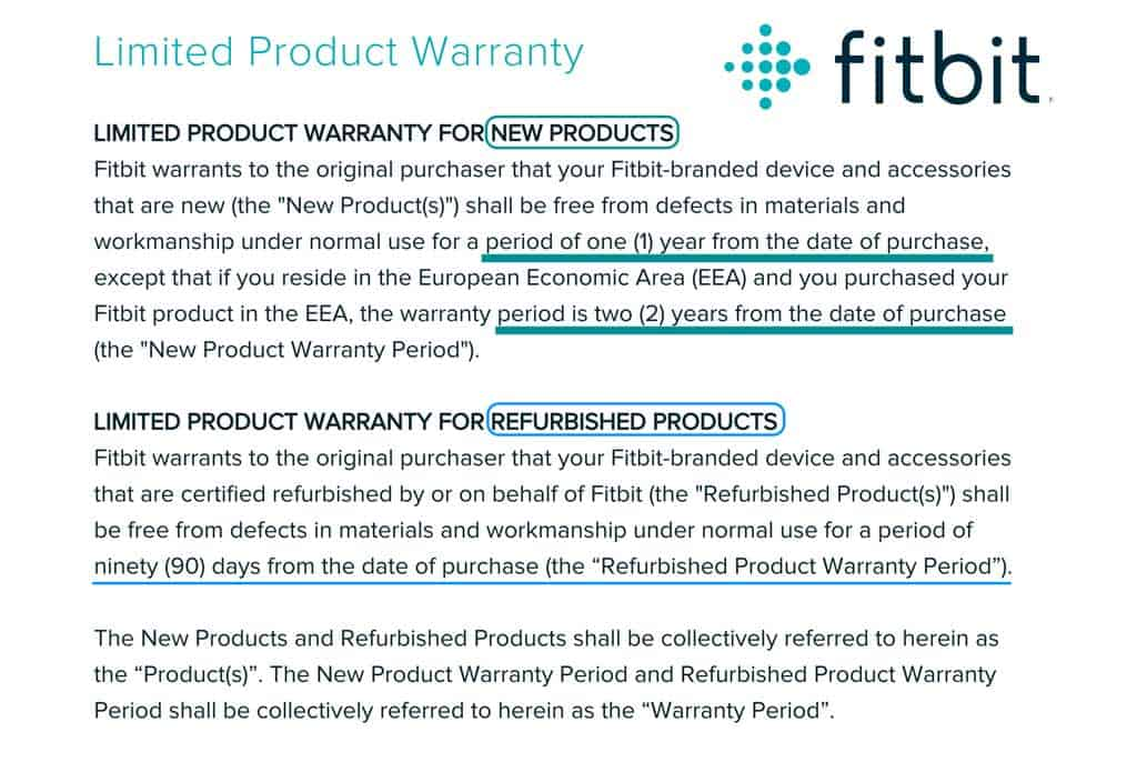 warranty details for Fitbit devices both new and refurbished