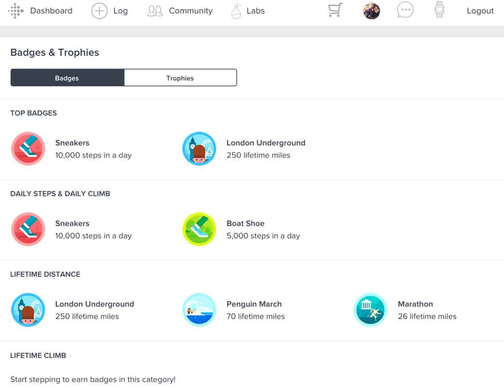 Fitbit's website account dashboard all badges and trophies earned