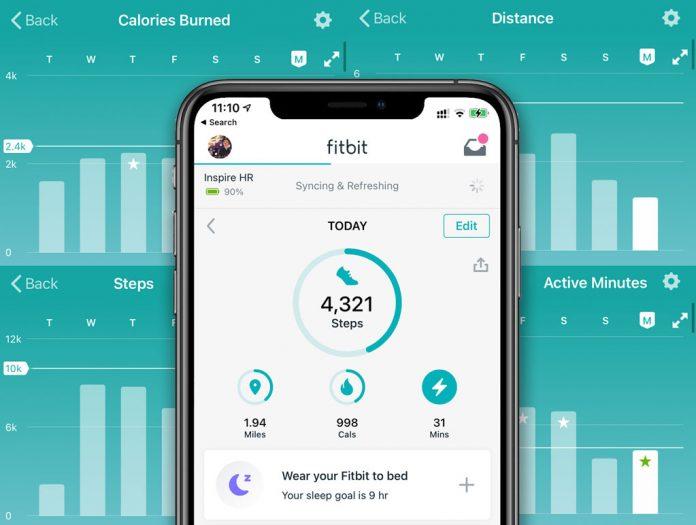Fitbit app weekly progress report