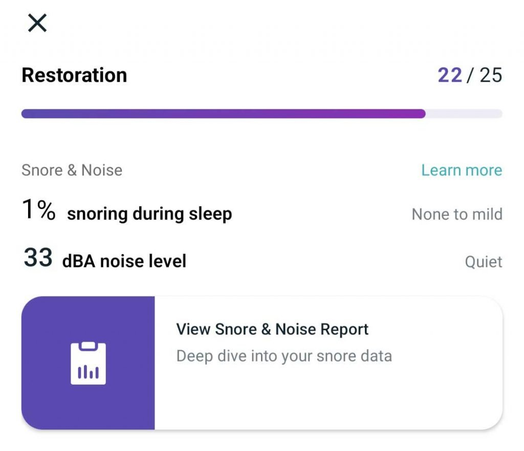 Fitbit premium view restoration tab for snore and noise