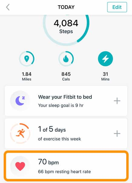resting heart rate information on Fitbit app