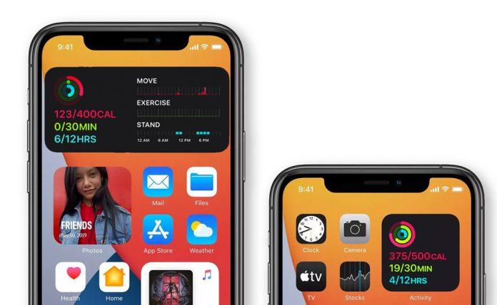 iOS 14+ Fitness app widget on home screen