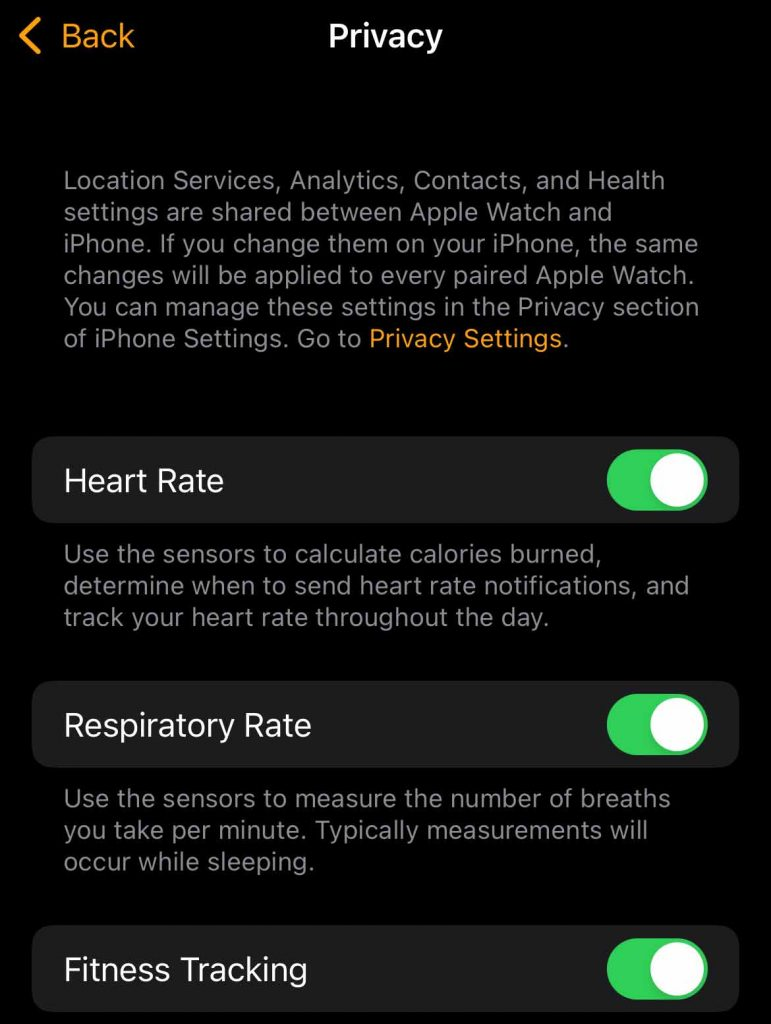 Apple Watch fitness tracking settings