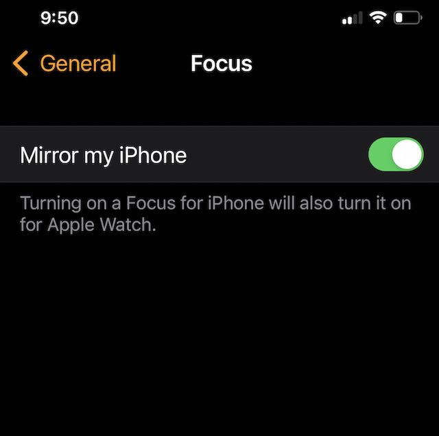 Focus Mode not syncing between iPhone and Apple Watch