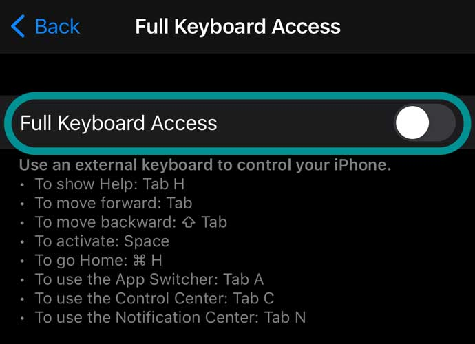 toggle for full keyboard access on iPhone