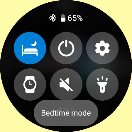 Bedtime mode in Galaxy Watch quick panel settings