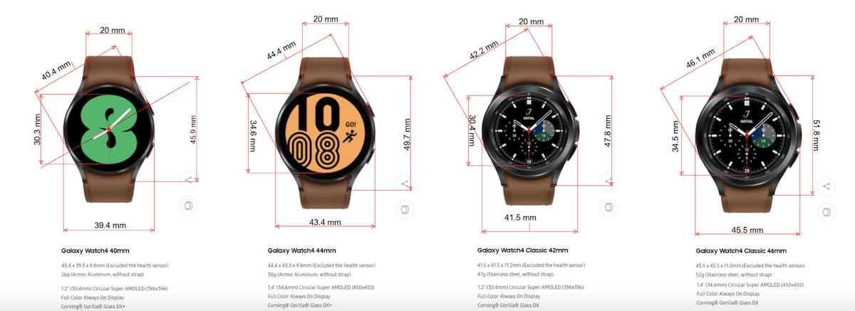 Samsung Galaxy Watch 4 Dimensions