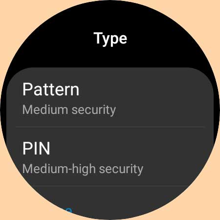 PIn or pattern for Samsung Galaxy Watch 4 security setting