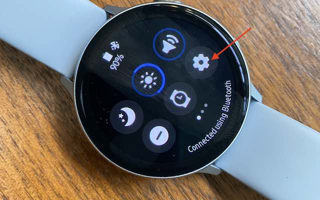 Galaxy watch quick settings panel