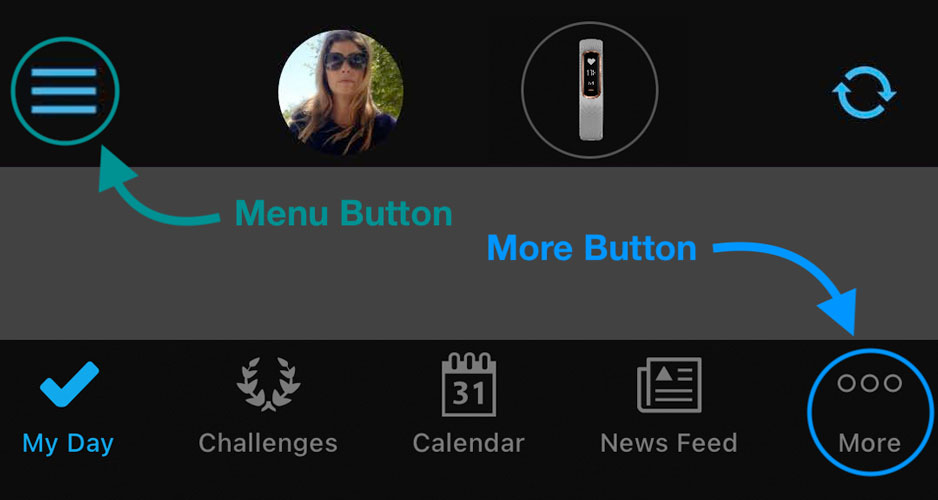 Menu and More buttons in Garmin Connect for iOS and Android
