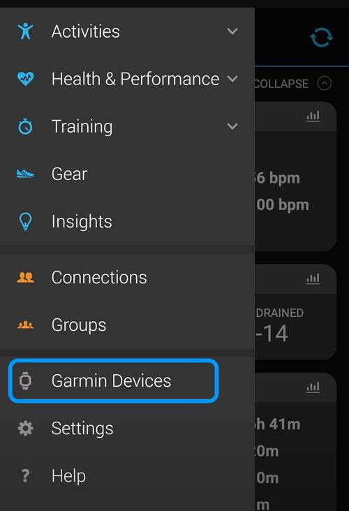 Garmin Devices setting in Garmin Connect app