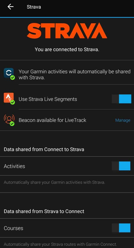 Sync Strata app to Garmin Connect