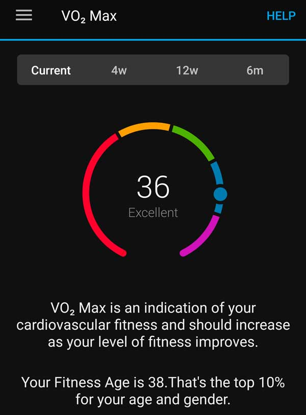 Excellent VO2 max score in Garmin Connect app