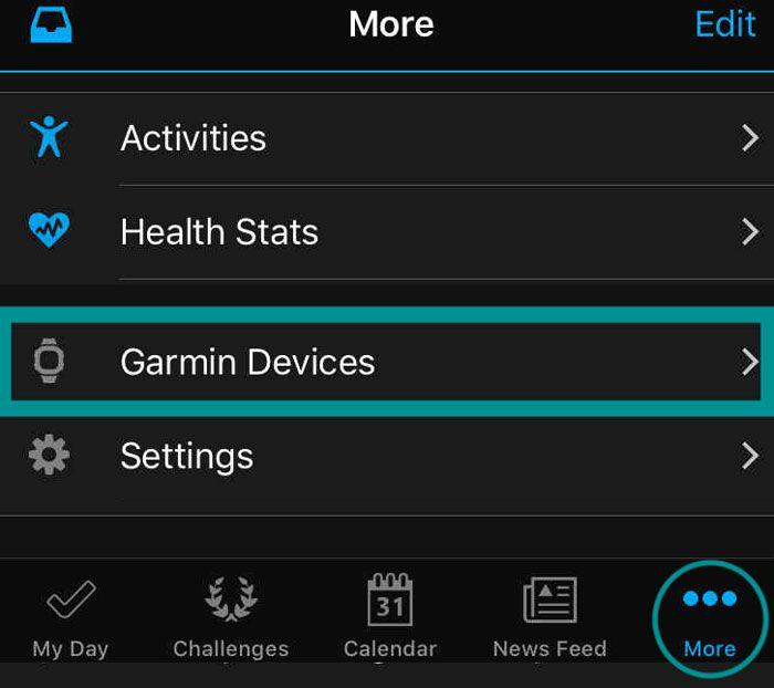 Garmin Devices menu in Garmin Connect app